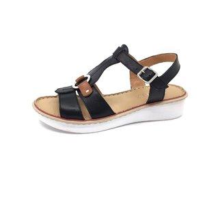 sandale cu talpa joasa dama din piele naturala, Leofex  - 161 Negru cu Camel