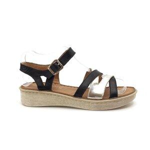 Sandale cu talpa joasa dama din piele naturala Leofex- 162 negru+argintiu