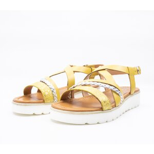 Sandale cu talpa joasa dama din piele naturala, Leofex - 205 -1 Galben + argintiu box