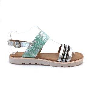 Sandale cu talpa joasa dama din piele naturala,Leofex-206-2 Verde Sidefat cu Argintiu