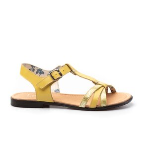 Sandale cu talpa joasa dama din piele naturala,Leofex-209 Galben Box