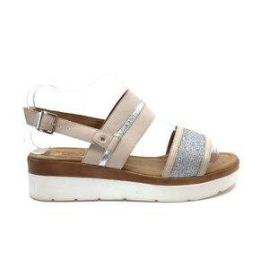 Sandale cu talpa joasa dama din piele naturala,Leofex - 210 Crem Box Sclipici