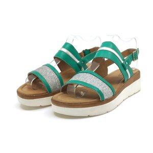 Sandale cu talpa joasa dama din piele naturala,Leofex - 210 Verde Box Sclipici
