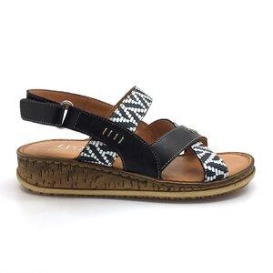 Sandale cu talpa joasa dama din piele naturala, Leofex - 212-1 Blue box mozaic