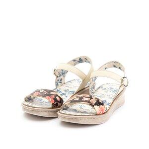 Sandale cu talpa joasa din piele naturala,Leofex - 260 Bej box floral