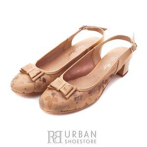 Sandale  cu toc dama din piele naturala - 580 bej+flori