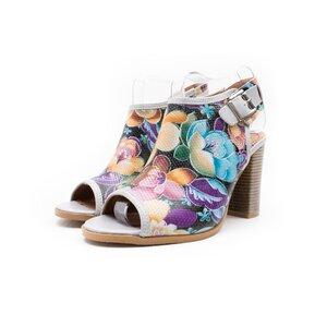 Sandale cu toc dama din piele naturala, Leofex - 033 flori 3 -1 box