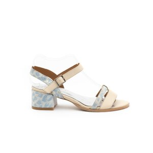 Sandale cu toc dama din piele naturala, Leofex - 127-3 Crem blue box