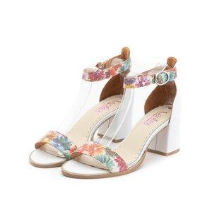 Sandale cu toc dama din piele naturala, Leofex- 128 Alb cu Flori Box