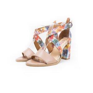 Sandale cu toc dama din piele naturala, Leofex - 139 nude box flori