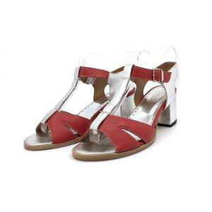 Sandale cu toc dama din piele naturala,Leofex-156 Rosu Cu argintiu Box