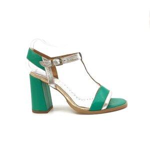 Sandale cu toc dama din piele naturala, Leofex - 223 Verde argintiu