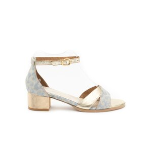 Sandale cu toc dama din piele naturala, Leofex - 228-1 Blue auriu box