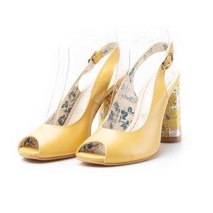 Sandale cu toc dama din piele naturala, Leofex - 250 galben box