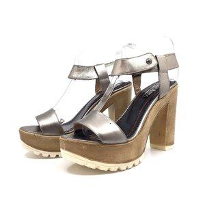 Sandale cu toc dama din piele naturala, Leofex -515 Bronz Box