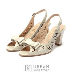 Sandale cu toc elegante dama din piele naturala Leofex- 734 Bej