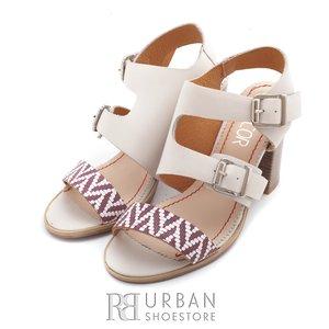 Sandale dama cu toc din piele naturala - 036 bej