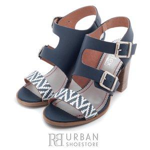 Sandale dama cu toc din piele naturala - 036 blug