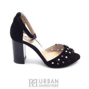 Sandale cu toc dama din piele intoarsa 1061-7 negru velur