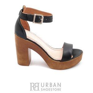 Sandale cu toc dama din piele naturala, Leofex - 039 negru