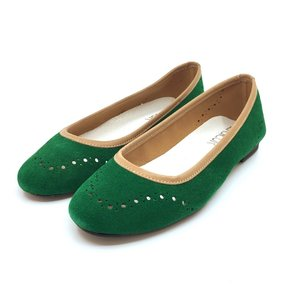 Balerini din piele intoarsa - Mostra Verde Velur cu Bej