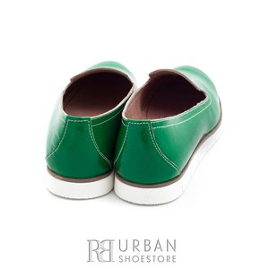 Balerini din piele naturala lacuita Leofex - 024-B3 verde