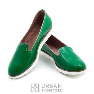 Balerini din piele naturala lacuita - 024-B3 verde