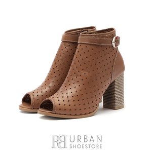 Botine dama de vara perforate - 007 Cognac Box