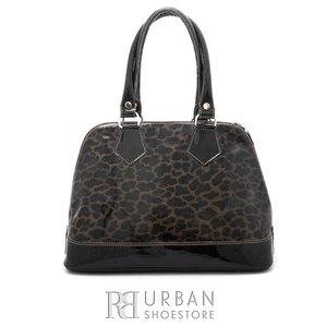 Geanta din piele lacuita pentru dame - leopard
