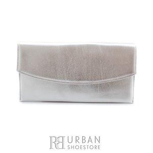Geanta plic eleganta din piele naturala pentru dame - argintiu