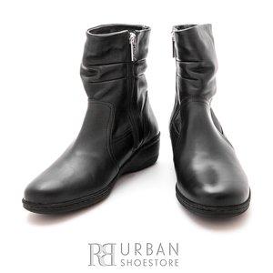 Cizme scurte casual din piele naturala - 088 negru box