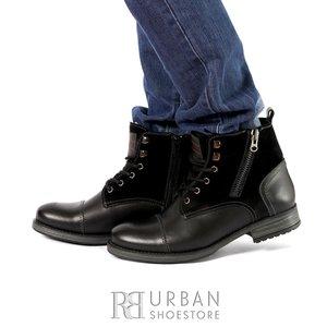 Ghete casual din piele naturala pentru barbati - 860 Negru Box Velur