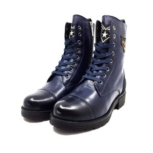 Ghete dama casual-military din piele naturala - 505 Albastru