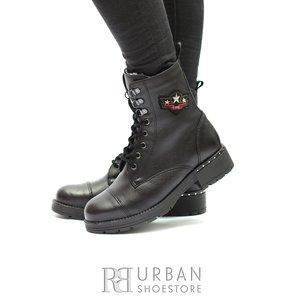 Ghete dama casual-military din piele naturala - 505 Negru Box
