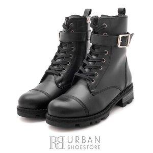 Ghete dama military din piele naturala, Leofex - 079 negru box