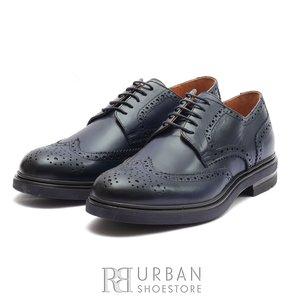 Pantofi barbati Brogue din piele naturala Leofex- 996 Blue
