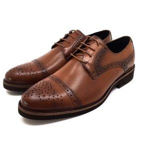 Pantofi barbati casual din piele naturala Leofex- 537 Cognac Box