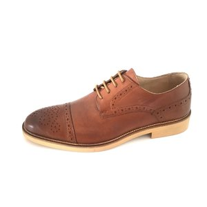 Pantofi barbati casual din piele naturala Leofex - Mostra Mihai Cognac Box