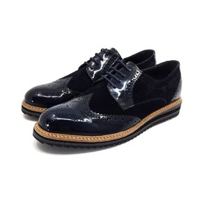Pantofi barbati derby din piele naturala - 846 Blue Lac Velur