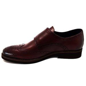 Pantofi barbati eleganti cu 2 catarame Leofex -  Mostra 933 Visiniu Box