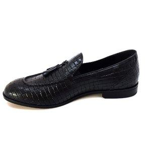 Pantofi barbati eleganti din piele naturala cu ciucuri, Leofex - 588 Negru Box presat