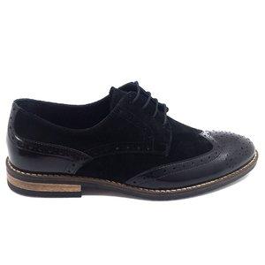 Pantofi barbati  eleganti din piele naturala Leofex- 514 Negru Florantic Velur