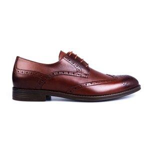 Pantofi barbati eleganti din piele naturala Leofex-516 Red Wood