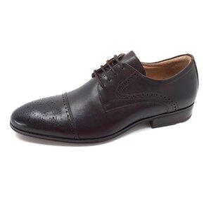 Pantofi barbati eleganti din piele naturala Leofex-529 Mogano Box