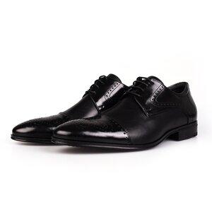 Pantofi barbati eleganti din piele naturala Leofex-529 Negru Box Florantic