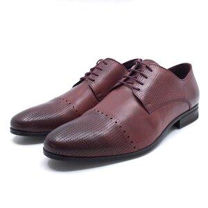 Pantofi barbati eleganti din piele naturala Leofex - 821 visiniu