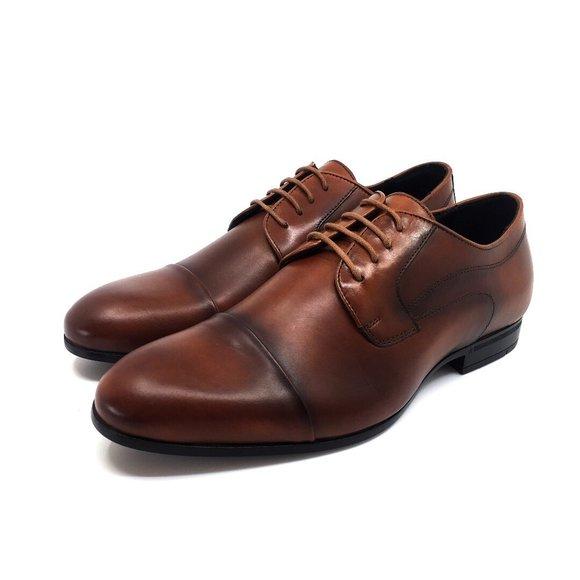 Pantofi barbati eleganti din piele naturala Leofex - 832-1 Cognac Box