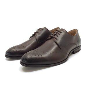 Pantofi barbati eleganti din piele naturala Leofex- 898 Ciocolata box