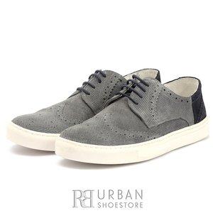 Pantofi barbati sport-casual din piele naturala - 975 Gri-Blue Velur