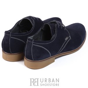 Pantofi casual barbati din piele naturala,Leofex - 578 blue velur